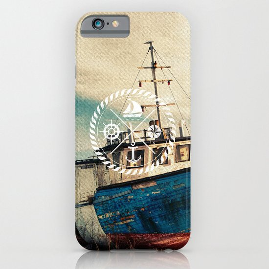 Blue Brown Vintage Nautical Anchor Sailing Boat iPhone & iPod Case