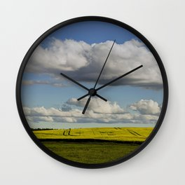 Spring Landscape with wonderful clouds Wall Clock