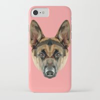 german shepherd iPhone & iPod Cases featuring German Shepherd // Pink by peachandguava