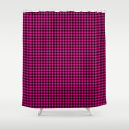 Mini Black and Hot Pink Cowgirl Buffalo Check Shower Curtain
