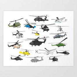 Multiple Helicopters Art Print
