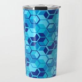 Blue Hexagon Geometric Pattern Travel Mug