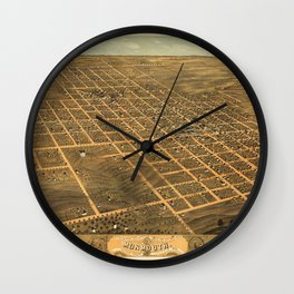 Bird's Eye View of Monmouth, Illinois (1869) Wall Clock