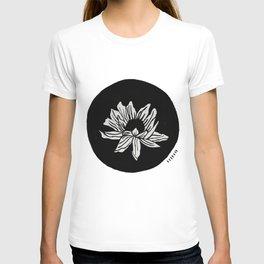 Sunflower: a minimal black and white painting by Alyssa Hamilton Art T-shirt