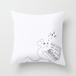 mouse pianist Throw Pillow