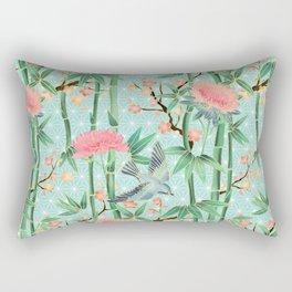 Bamboo, Birds and Blossom - soft blue green Rectangular Pillow