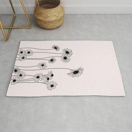Daisy flowers illustration - Natural Rug