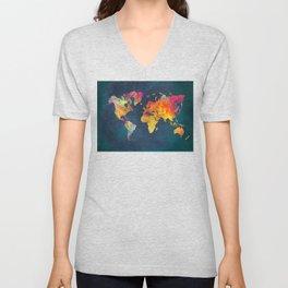 World Map blue #world #map Unisex V-Neck