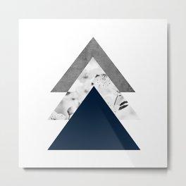 Blue grey monochrome blossom arrows Metal Print