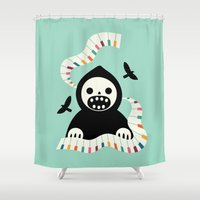 destiny Shower Curtains featuring Destiny Movement by Andy Westface