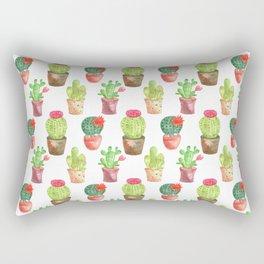 Watercolor Cactuces Pattern Rectangular Pillow