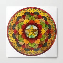 Star Mandala Autumn Metal Print