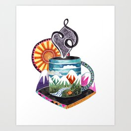 Mountain Coffee Art Print