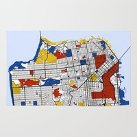 san francisco Area & Throw Rugs featuring San Francisco by Mondrian Maps