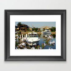 Moor your yacht in a colourful Backyard Framed Art Print