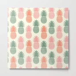 Pineapple on old paper texture. Tropical fruits. Vintage hand drawn illustration pattern. Metal Print