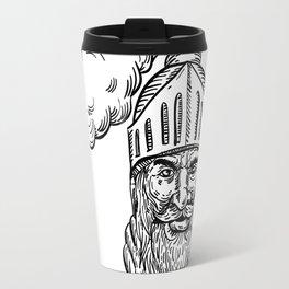 Old Knight Head Drawing Travel Mug