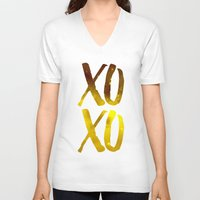 xoxo V-neck T-shirts featuring XOXO by cat&wolf