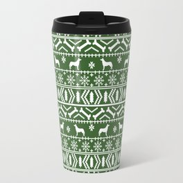 Husky fair isle green and white minimal christmas dog pattern gifts huskies Travel Mug