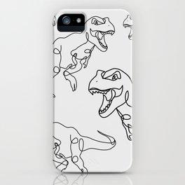 Raging T-Rex Dinosaur Line Art Drawing, Hungry Tyrannosaurus Rex Single Line Illustration iPhone Case