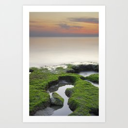 """Green, white and red beach"" Art Print"