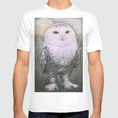 Snowy Owl Mens Fitted Tee White MEDIUM