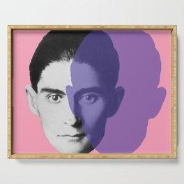 Franz Kafka - portrait pink and purple Serving Tray