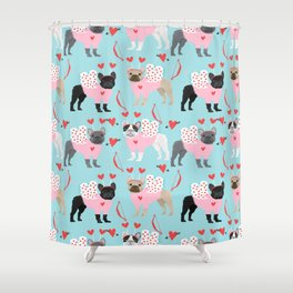 French Bulldog valentines day love bug must have frenchie dog breed Shower Curtain