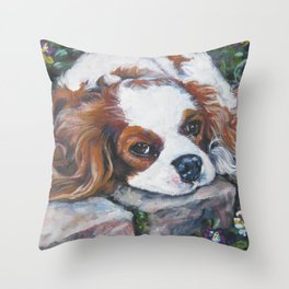 Beautiful Blenheim Cavalier King Charles Spaniel Dog Art Painting by LA.Shepard Throw Pillow
