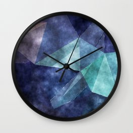 The deep blue sea - Watercolor triangles pattern in blue colors Wall Clock