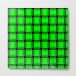 Large Neon Green Weave Metal Print