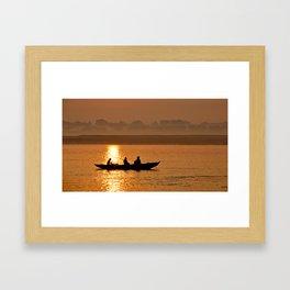 Sunset boat ride on the Ganges Framed Art Print