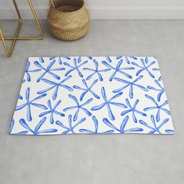 Blue starfish watercolor design Rug