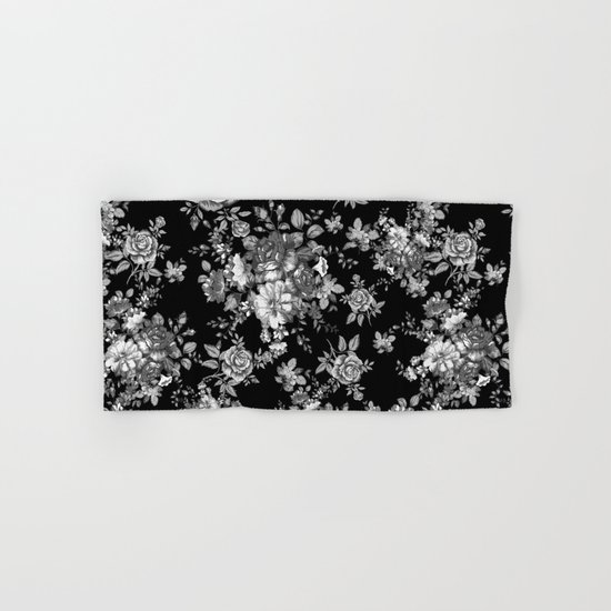 Bath Towel Sets Black And White: Black And White Floral Pattern Hand & Bath Towel By