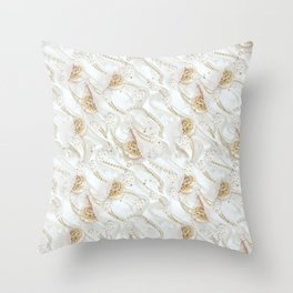White Ivory Silk & Champaign Pearls Throw Pillow