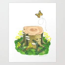 Happy Tree Stump Art Print
