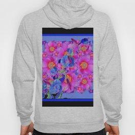 Black Asymmetric Blue Morning Glories Pink Roses Art Hoody