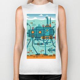 Cute Colorful Robot Underwater Scene Biker Tank