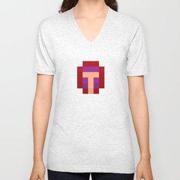 hero pixel purple red Unisex V-Neck
