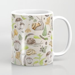 Woodland Snail in Watercolor Fungi Forest, Moss Green and Ochre Earth Animal Pattern Coffee Mug