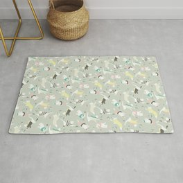 Vintage Style Cats Pattern Rug