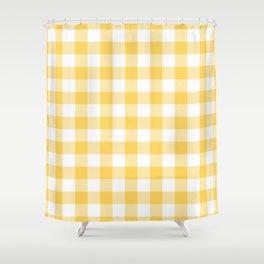 Sunshine and White Buffalo Check Shower Curtain