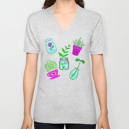 Cute lovely little house plants in glass jars, potted flowers cartoons. plant, ecology, nature lover Unisex V-Neck