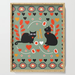 Romantic cats Serving Tray