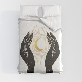 Gold La Lune In Hands Comforters