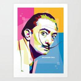 Salvador Dali in Pop Art Portrait Art Print