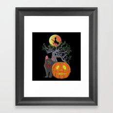 Cat Halloween Girls Framed Art Print