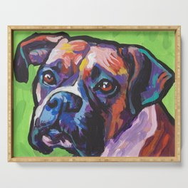 Fun BOXER Dog bright colorful Pop Art Painting by Lea Serving Tray