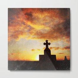 cross silhouette on sunset Metal Print