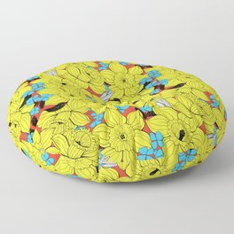 Daffodils spring floral pattern Floor Pillow